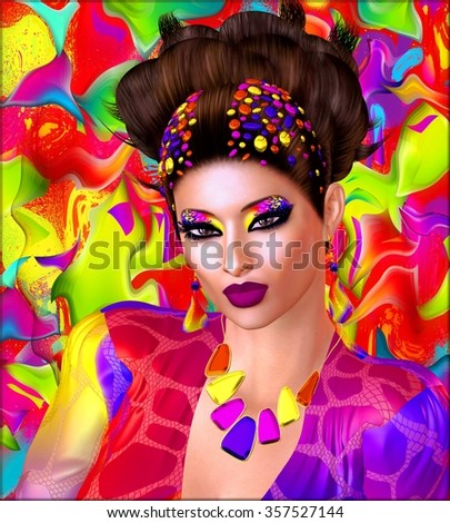 Colorful ribbons, swirls, beads and makeup adorn this modern digital art image of a woman's face close up. - stock photo