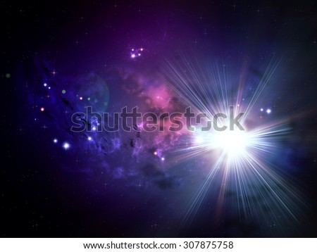 Colorful rich star forming nebula in open space background.