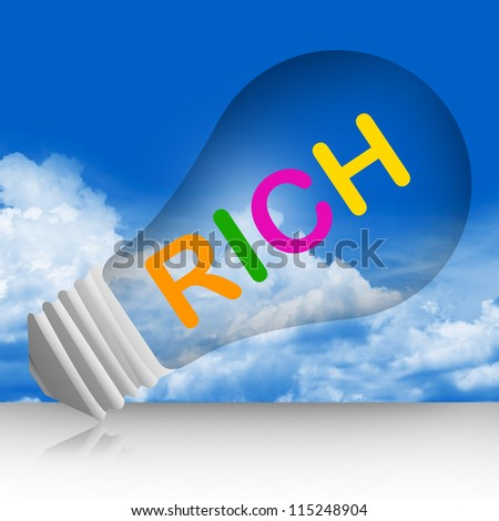 Colorful Rich Text Inside The Light Bulb For Business Concept in Blue Sky Background - stock photo