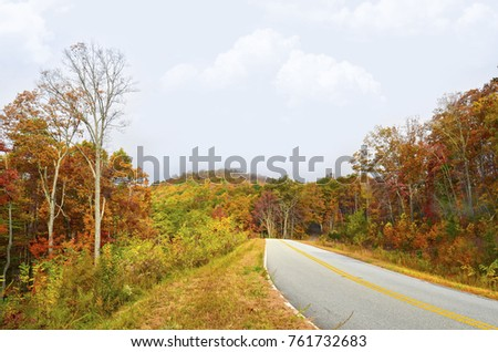 Colorful road in autumn going to the top of a mountain.
