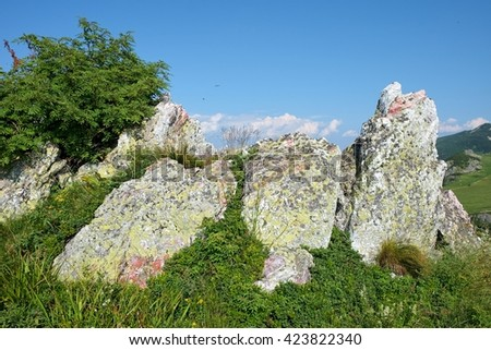 colorful rocks on grass - stock photo