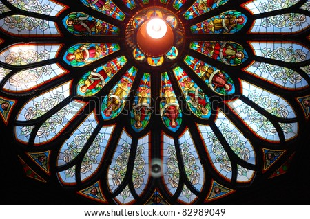 Colorful roof window of Montreal Notre-Dame Basilica (French: Basilique Notre-Dame de Montreal), Montreal, Quebec, Canada - stock photo