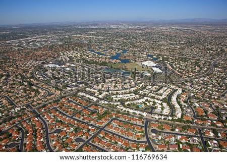 Colorful rooftops of north Scottsdale, Arizona - stock photo
