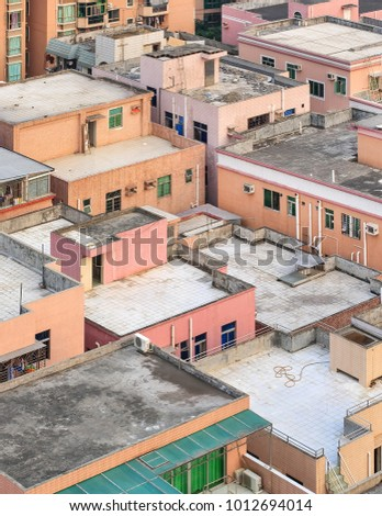 Colorful rooftops of old buildings in Shenzhen city center, China
