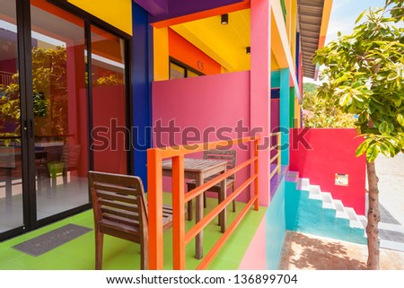 colorful room in resort on Kohlan, Pattaya, Thailand. - stock photo
