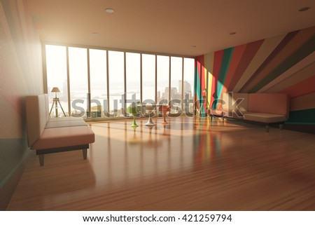 Colorful room interior with wooden floor, two sofas, tables and windows with city view. 3D Rendering - stock photo