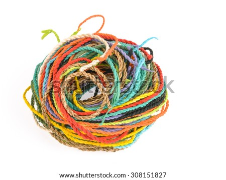 colorful rope  made from mulberry paper on white background
