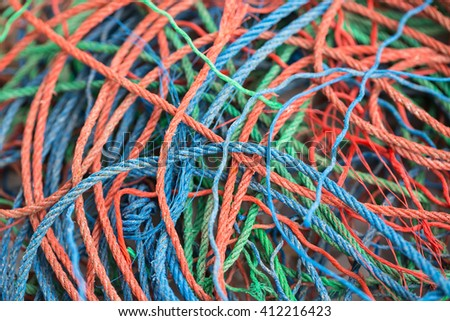 Colorful rope pile background