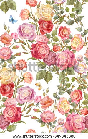 Colorful rosebush. Flowers and butterflies seamless background pattern. Version 1