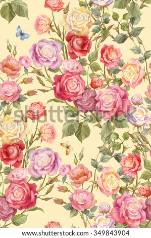 Colorful rosebush. Flowers and butterflies seamless background pattern. Version 3