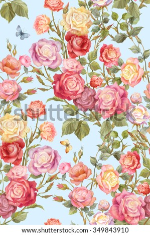 Colorful rosebush. Flowers and butterflies seamless background pattern. Version 4