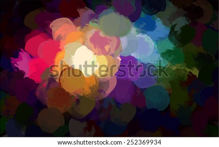 Colorful round brush strokes background. Raster version