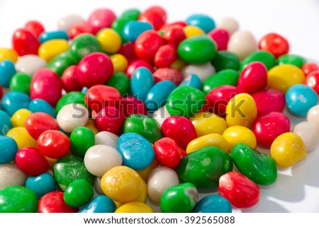 colorful round candy dragees as a sweet treat