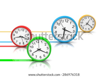 Colorful Round Clocks Rolling on White Surface, Running Time Concept 3D Illustration - stock photo