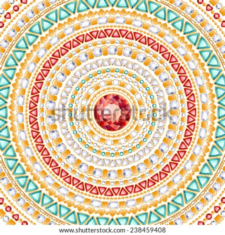 Colorful round jewels background. Luxurious chains pattern of gold, diamonds, rubies and emeralds. - stock photo