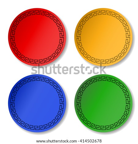 Colorful round stickers. Set of blank promotional labels for special offer. Sale typography print. Design template isolated on white background. Button for advertising message.  - stock photo