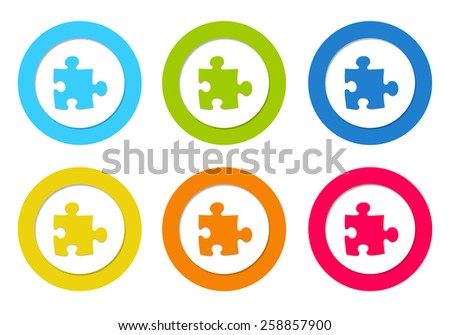 Colorful rounded icons with puzzle symbol in blue, green, yellow, orange and red colors