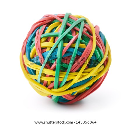 Colorful rubber band ball isolated on white - stock photo