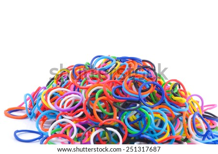 Colorful rubber band isolated on white.