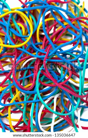 colorful rubber band isolated on white background