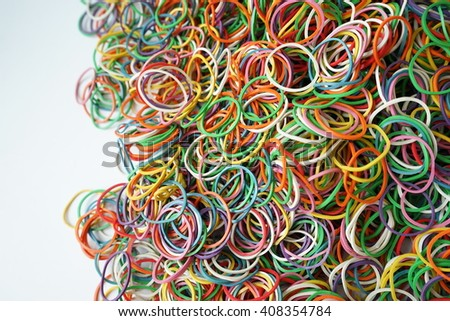 colorful rubber bands.