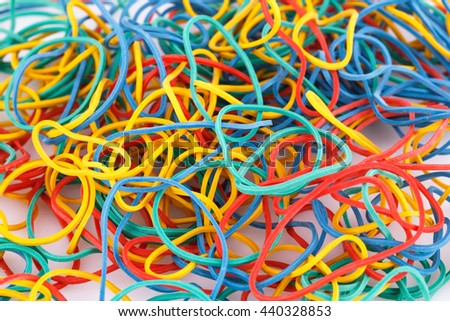 Colorful rubber bands closeup picture.