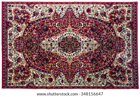 Colorful rug with oriental ornaments isolated on white background