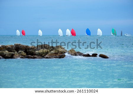 Colorful sailing boats on the sea. Panoramic view. Florida Keys, USA - stock photo