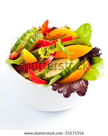 Colorful Salad Isolated on White - stock photo