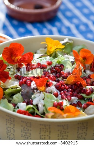 Colorful salad with flowers - stock photo