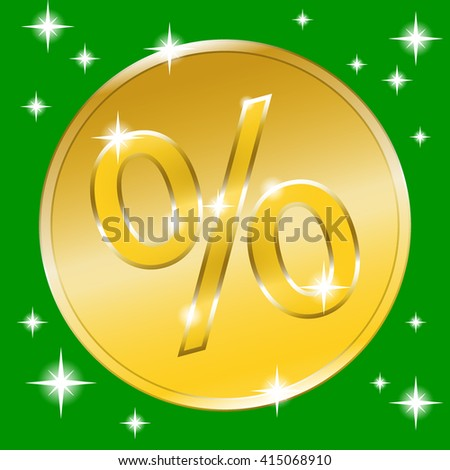 Colorful sale banner with golden effect. Gold coin icon for special offer. Label advertising message. Percent sign print. Discount label with stars on green background. Design retro template.  - stock photo