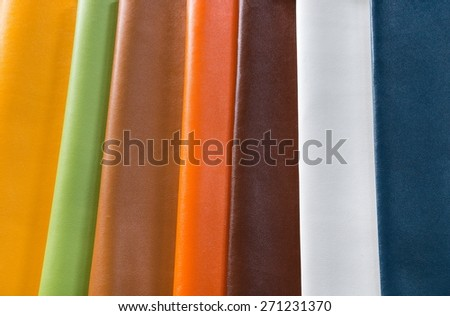 colorful sample material of leather fabric  - stock photo