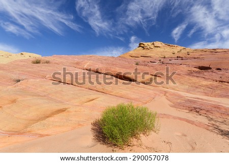 Colorful sandstone rock formation called Pink Canyon, Valley of Fire State Park, NV - stock photo