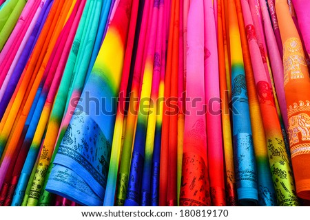 colorful sari in the shop - stock photo