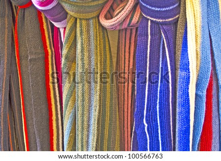 Colorful scarfs in a shop