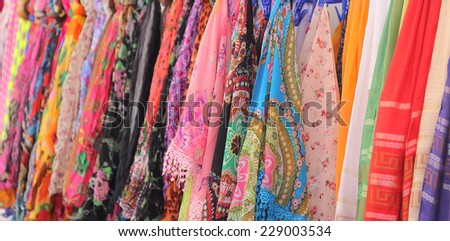 colorful scarves - stock photo