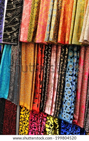 Colorful scarves for sale in the market