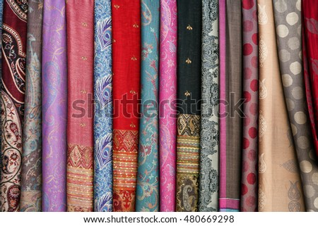 Colorful scarves on an oriental bazaar market