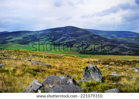 Colorful scenic view of the Scottish highlands in summer - stock photo