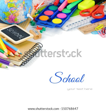 Colorful school supplies. Back to school concept