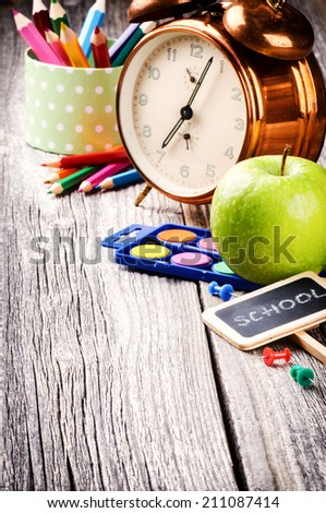 Colorful school supplies. Back to school concept - stock photo