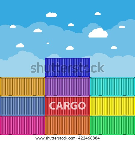 colorful sea cargo containers at blue sky background with clouds. logistics, transportation concept. illustration in flat design - stock photo