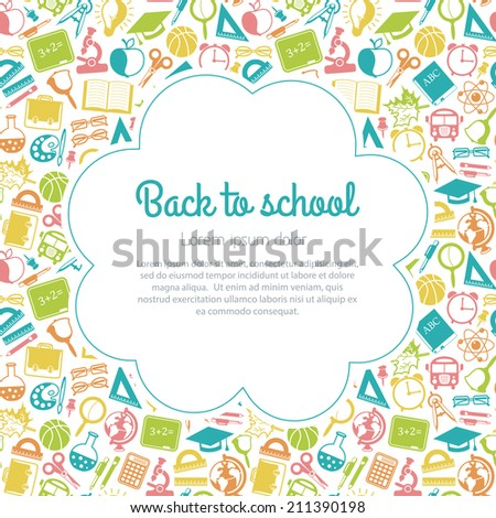 colorful seamless pattern school subjects - stock photo