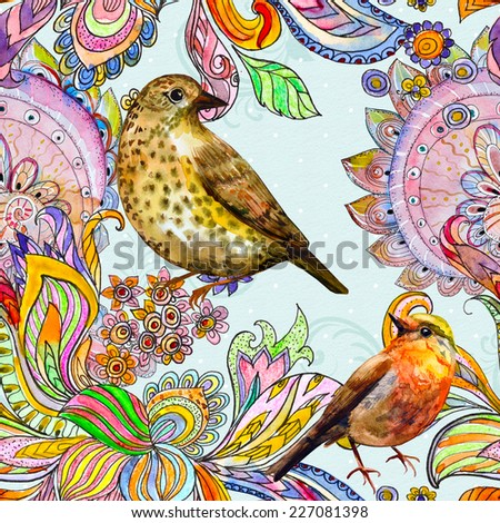 colorful seamless texture with cute birds watercolor - stock photo