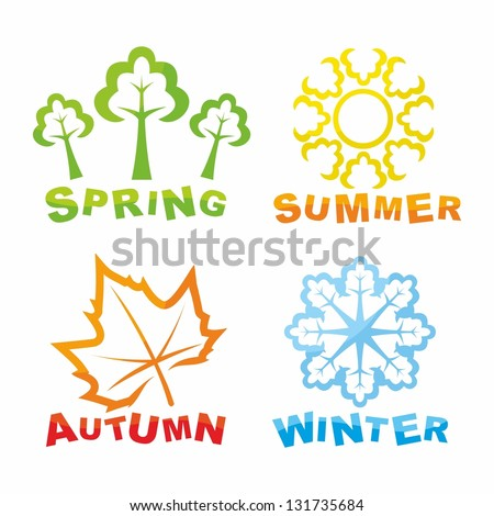 Colorful seasons icons - stock photo