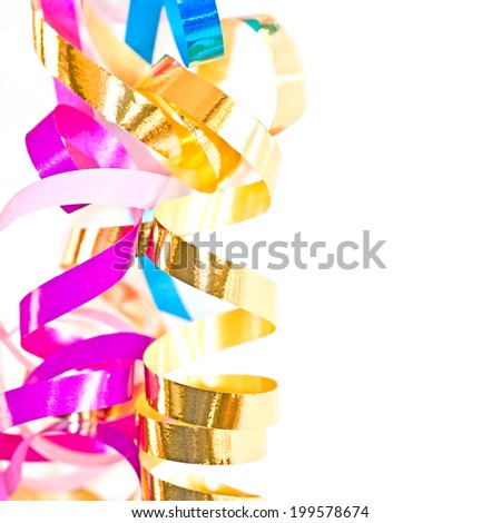 Colorful serpentine streamers isolated on white background - stock photo