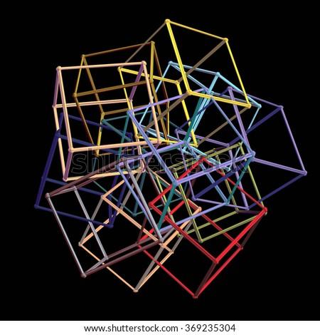 Colorful set of geometric cube carcass framework - stock photo