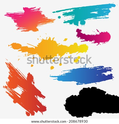 Colorful set of grunge stains background textures