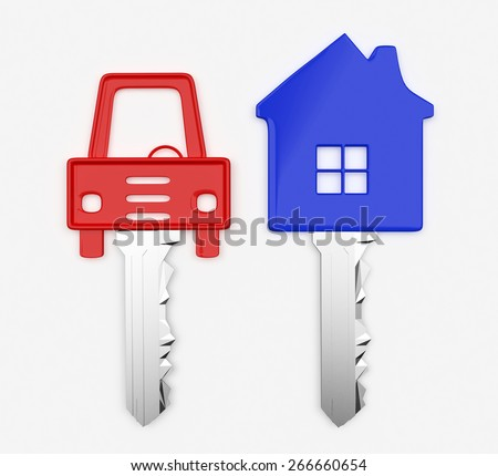 Colorful set of keys in the form of house and car isolated on white background - stock photo