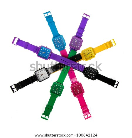 colorful set of plastic wrist watches isolated on white - stock photo